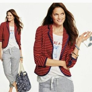 Talbots Red & Navy Blue Cotton Nautical Striped Bl